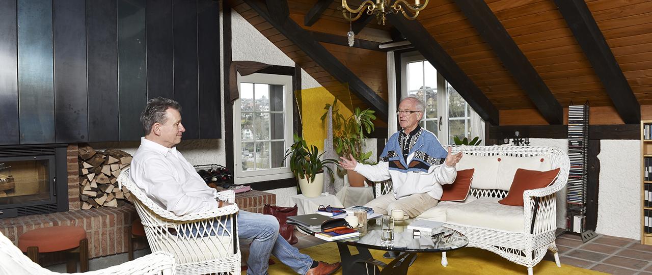 Dr. Gabriel Looser (l.) und DeinAdieu-Autor Martin Schuppli.