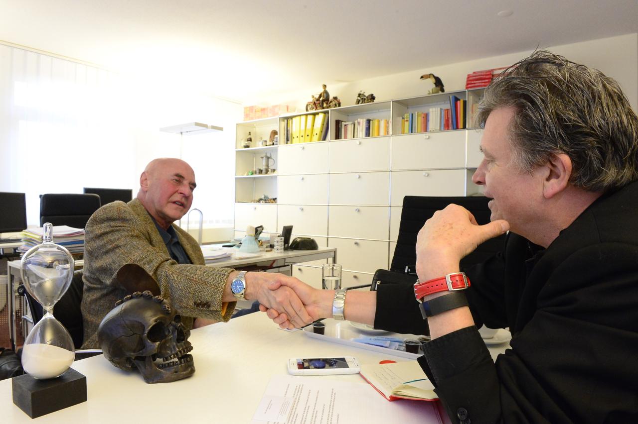 Anwalt Valentin Landmann und DeinAdieu-Autor Martin Schuppli