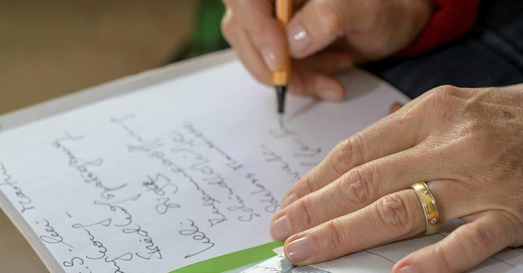 Handschriftlicher Eintrag ins blaue Buch