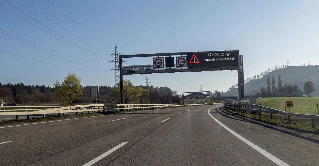 Corona-Seuche. Leere Autobahn A1, Grauholz Bern