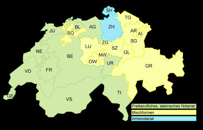 Notariatswesen in der Schweiz. Darstellung von Schweizerischer Notarenverband.
