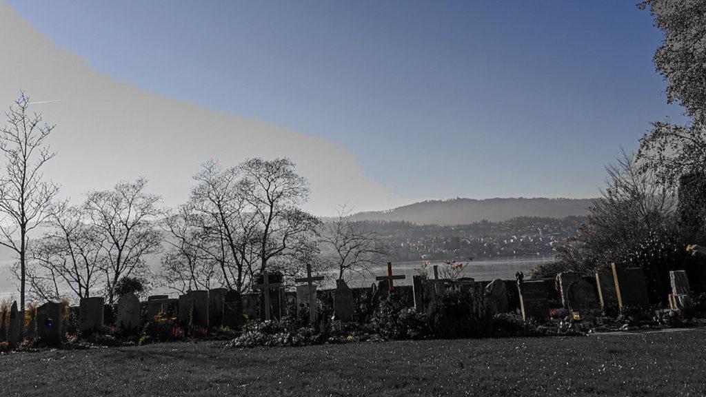 Abendstimmung auf dem Friedhof Erlenbach